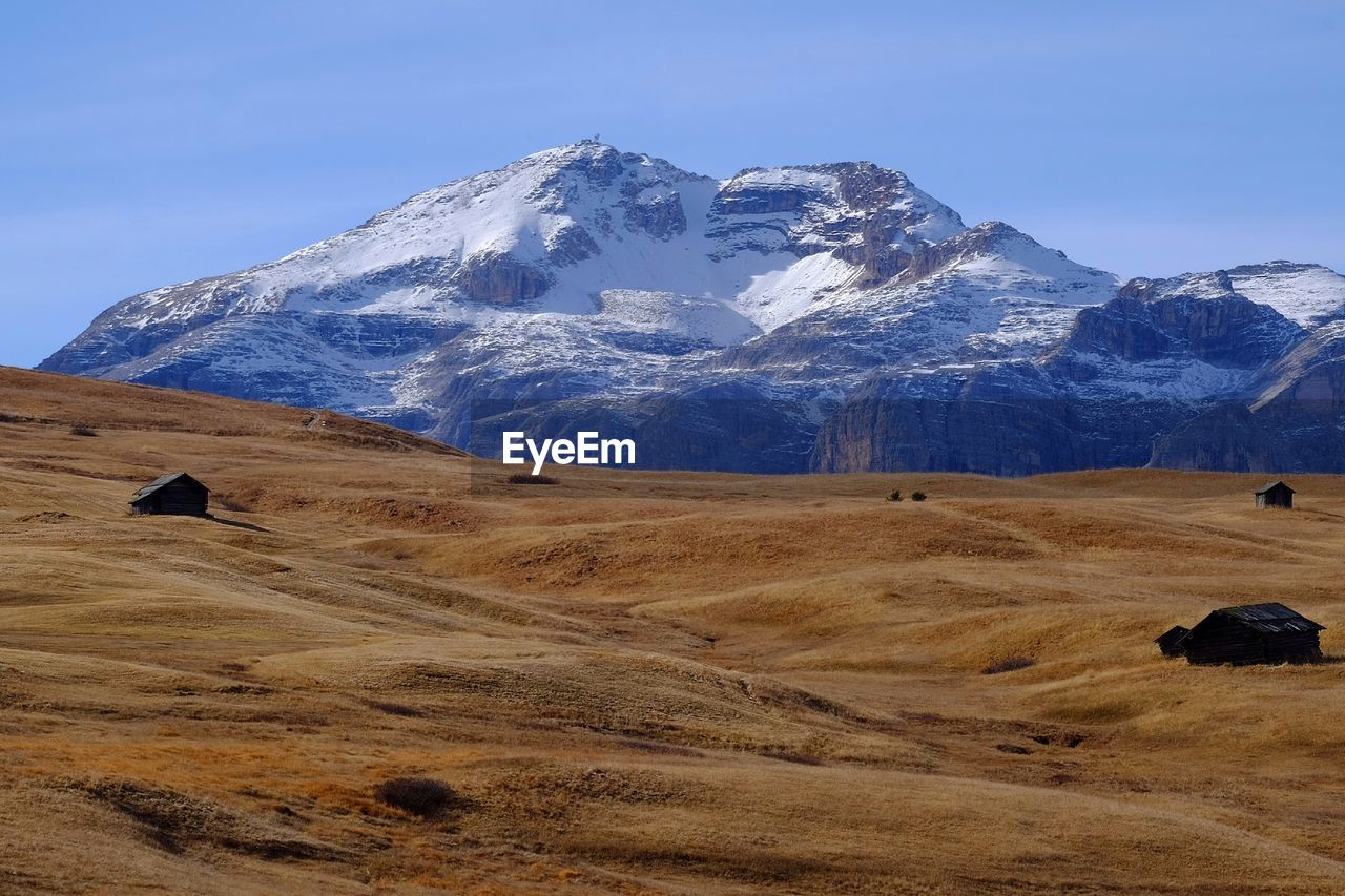 Scenic view of field and snowcapped mountain