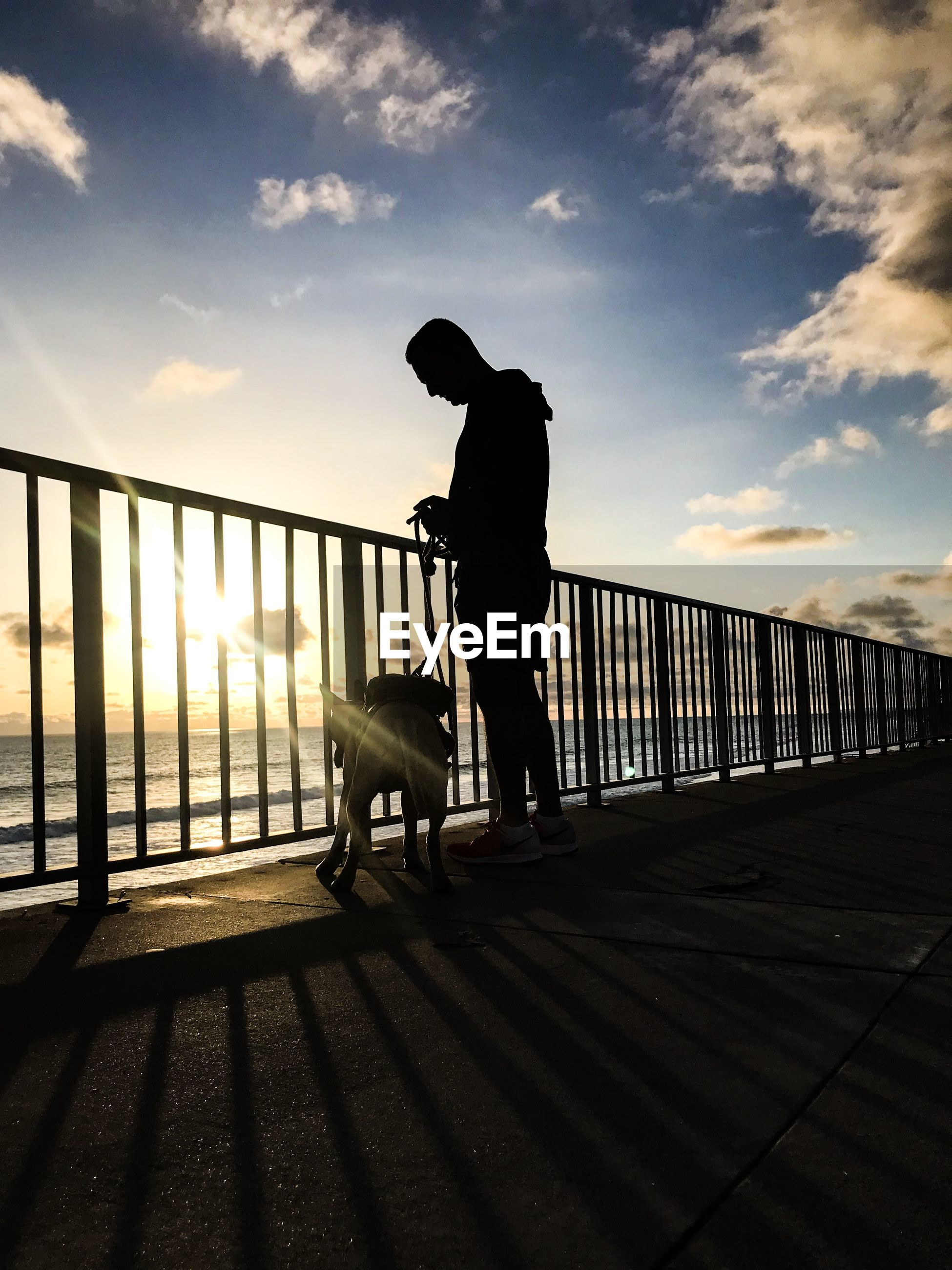 Silhouette man with dog standing on footpath against sky at sunset