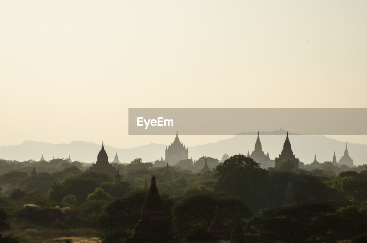 Scenic View Of Bagan Temples Against Clear Sky