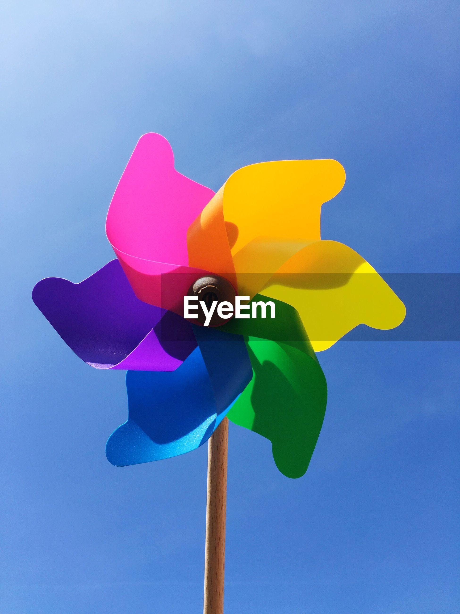Close-up of colorful pinwheel toy against sky