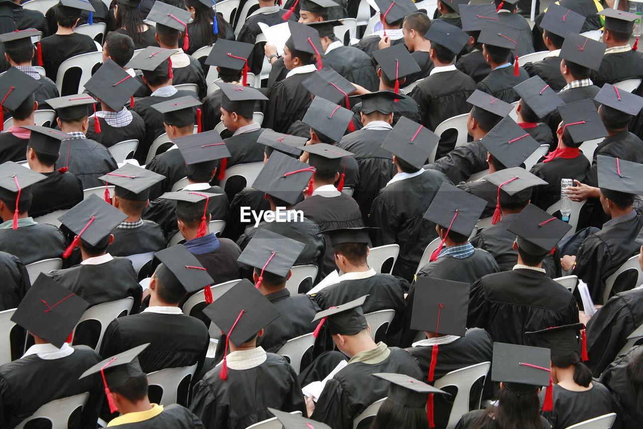 High Angle View Of Students At Graduation