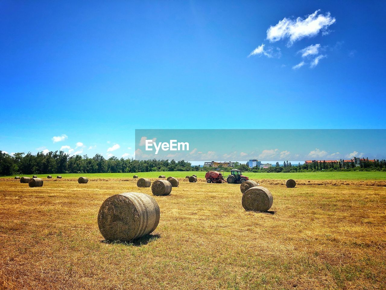 field, sky, landscape, land, hay, bale, environment, plant, agriculture, tranquil scene, scenics - nature, rural scene, nature, farm, blue, beauty in nature, day, no people, tranquility, grass, outdoors