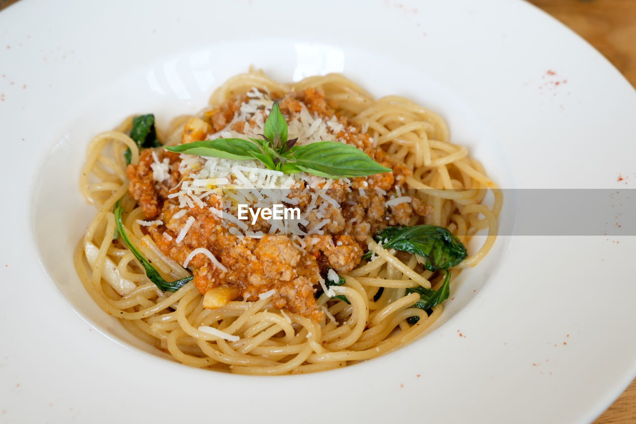 pasta, italian food, ready-to-eat, food, food and drink, freshness, plate, serving size, indoors, spaghetti, healthy eating, indulgence, wellbeing, still life, close-up, meal, garnish, no people, herb, high angle view, temptation, dinner, crockery