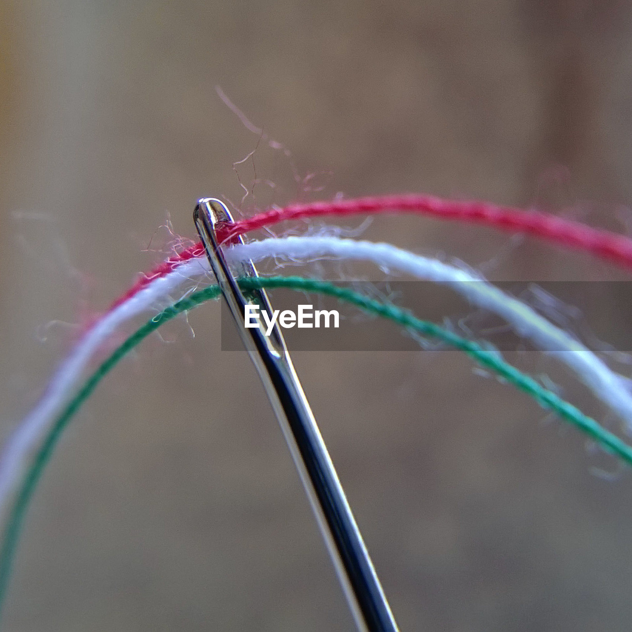 Close-up of threads in sewing needle