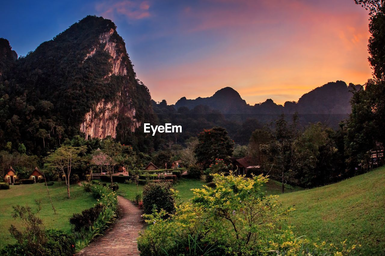 mountain, sky, beauty in nature, plant, nature, tree, tranquility, scenics - nature, sunset, no people, tranquil scene, environment, growth, mountain range, outdoors, non-urban scene, landscape, idyllic, water, land
