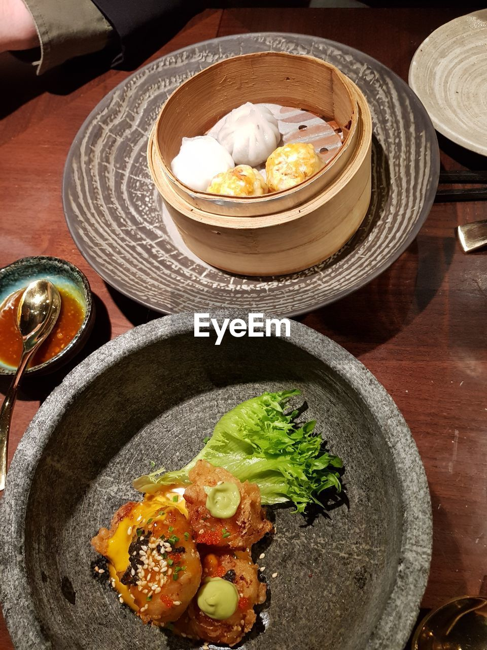 food and drink, food, freshness, healthy eating, ready-to-eat, wellbeing, indoors, still life, asian food, table, no people, high angle view, bowl, dumpling, chinese food, japanese food, close-up, serving size, kitchen utensil, plate