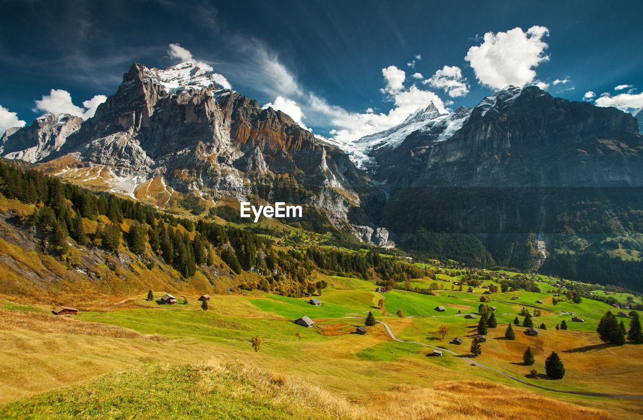 Scenic View Of Swiss Alps Against Sky