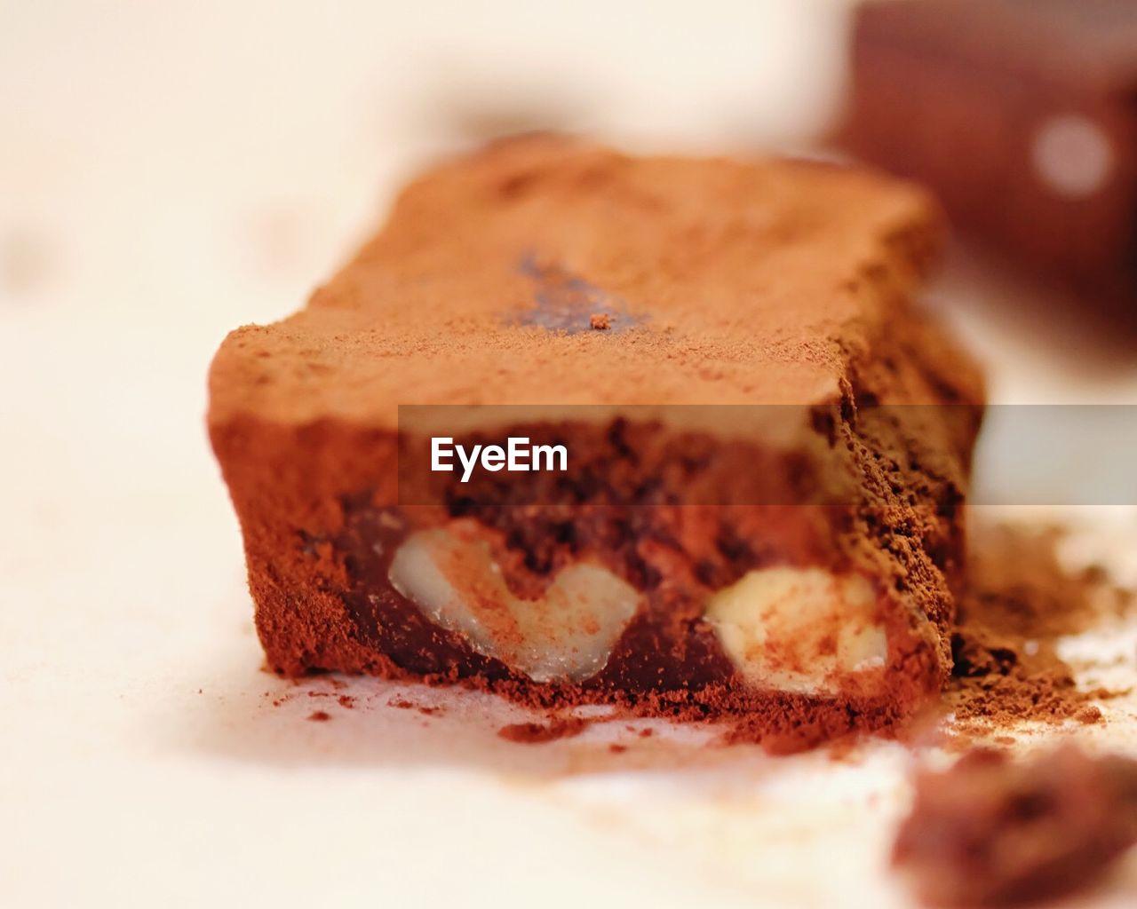 Close-up of slice of chocolate cake