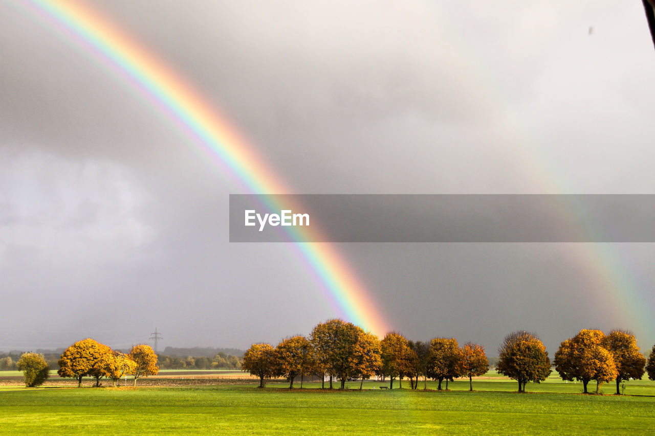 rainbow, beauty in nature, plant, multi colored, tree, cloud - sky, sky, scenics - nature, nature, tranquility, tranquil scene, idyllic, double rainbow, day, grass, non-urban scene, environment, no people, landscape, outdoors