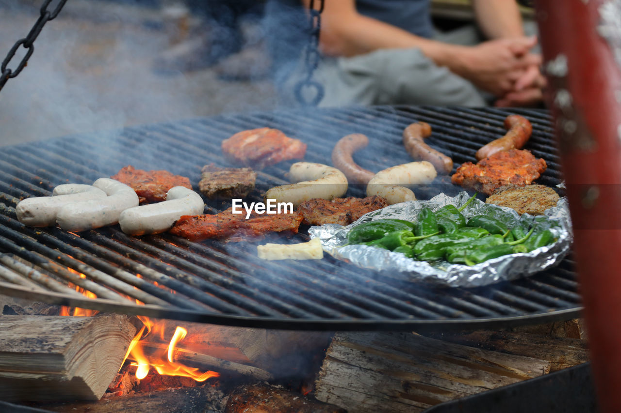 FOOD ON BARBECUE GRILL