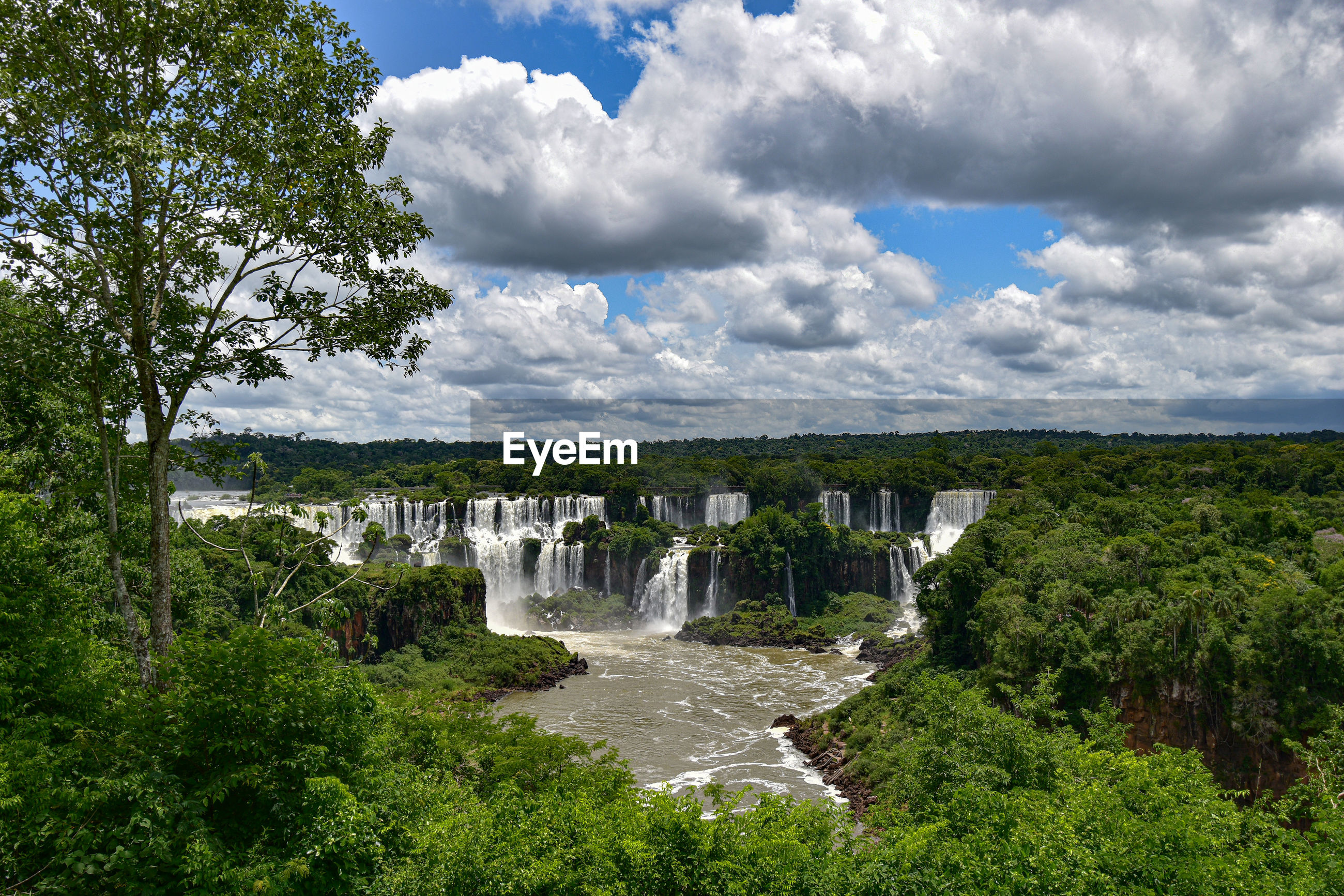 Scenic view of waterfall against sky - cataratas do iguacu