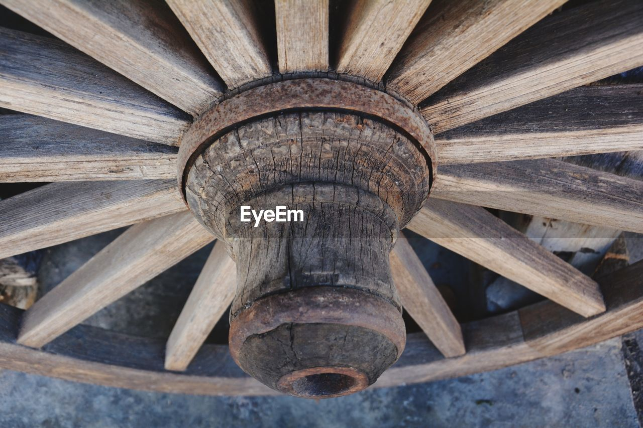 High Angle View Of Wagon Wheel