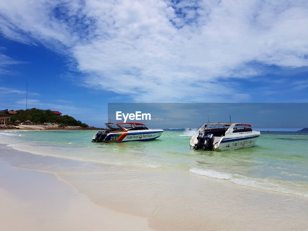 sky, transportation, water, sea, nature, beauty in nature, nautical vessel, beach, scenics, tranquil scene, mode of transport, tranquility, day, cloud - sky, outdoors, sand, no people, horizon over water, jet boat