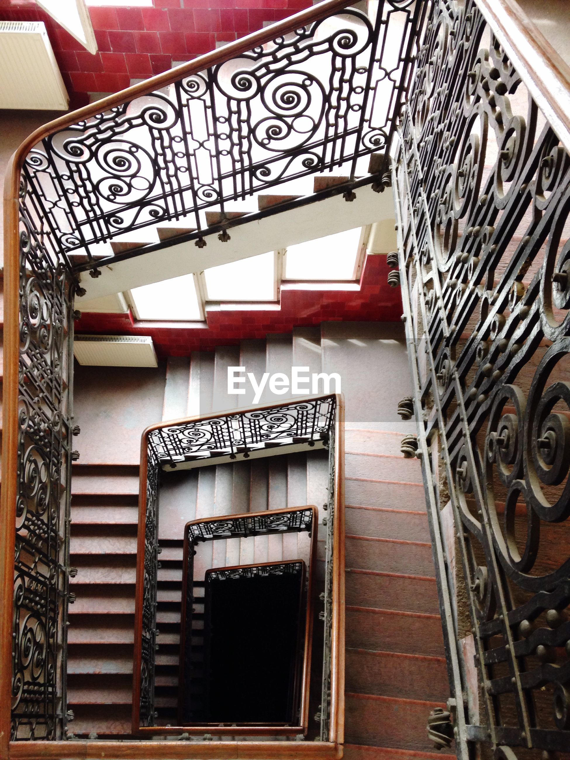 High angle view of ornate staircase