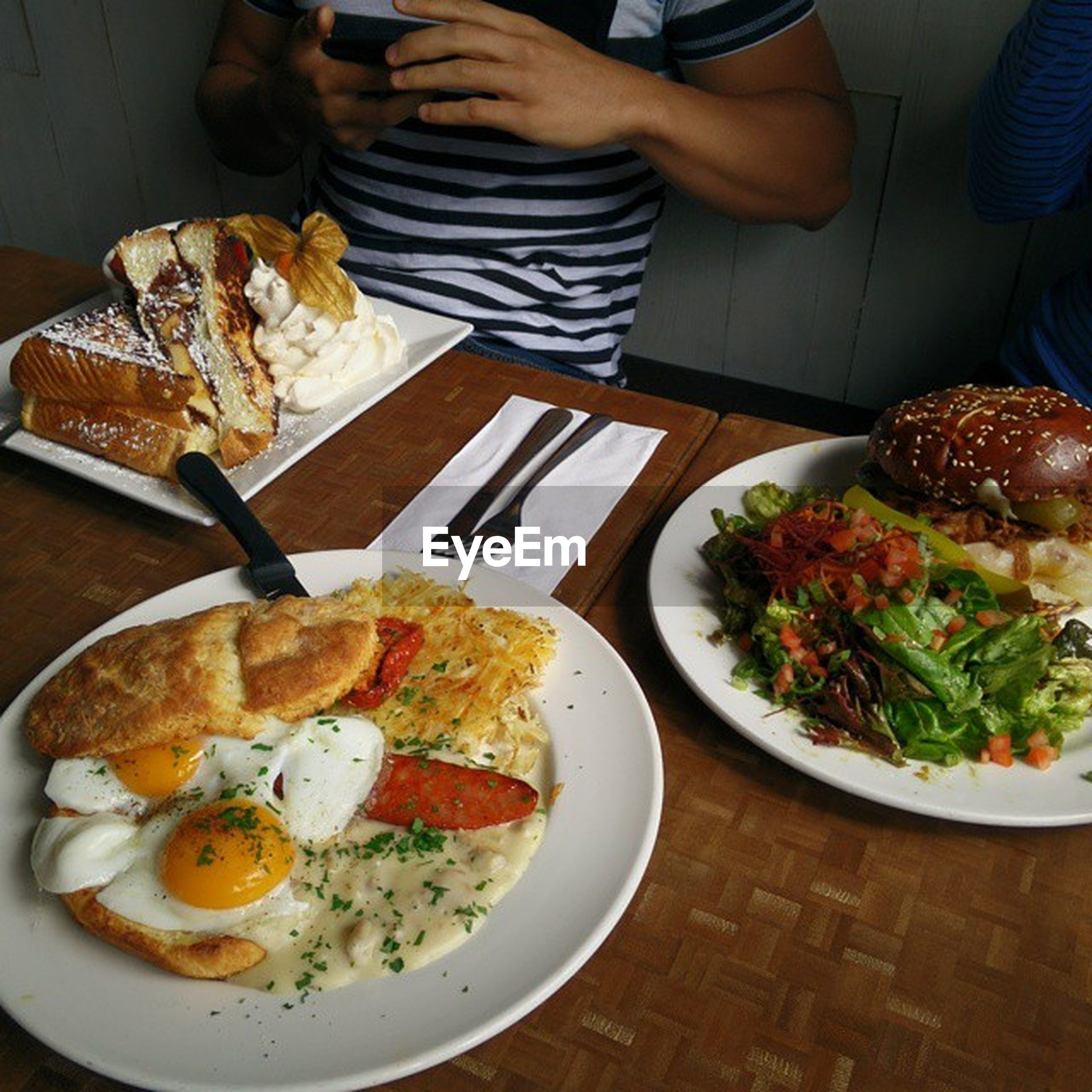 food and drink, food, indoors, freshness, plate, ready-to-eat, table, healthy eating, meal, serving size, meat, high angle view, vegetable, restaurant, salad, seafood, close-up, still life