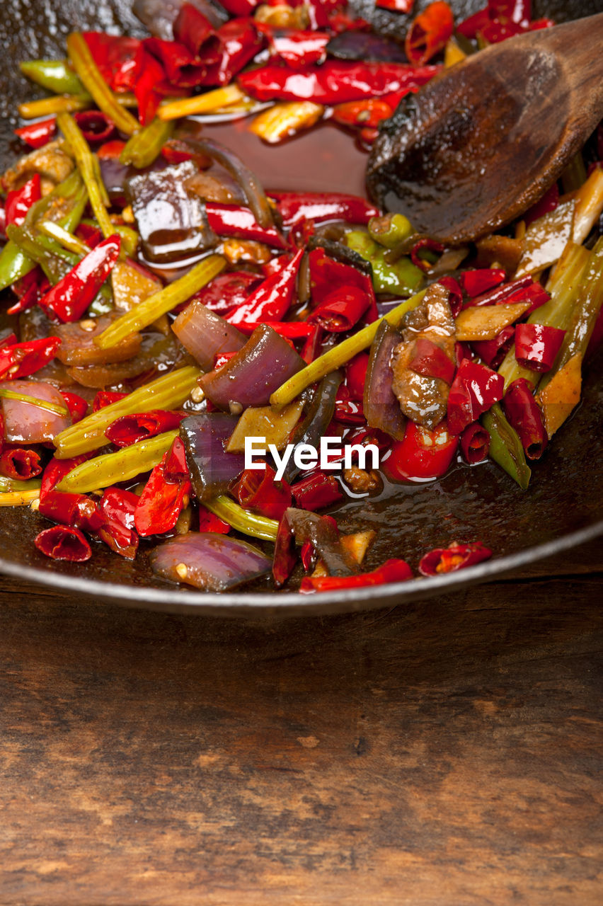 High Angle View Of Cooked Vegetables In Frying Pan