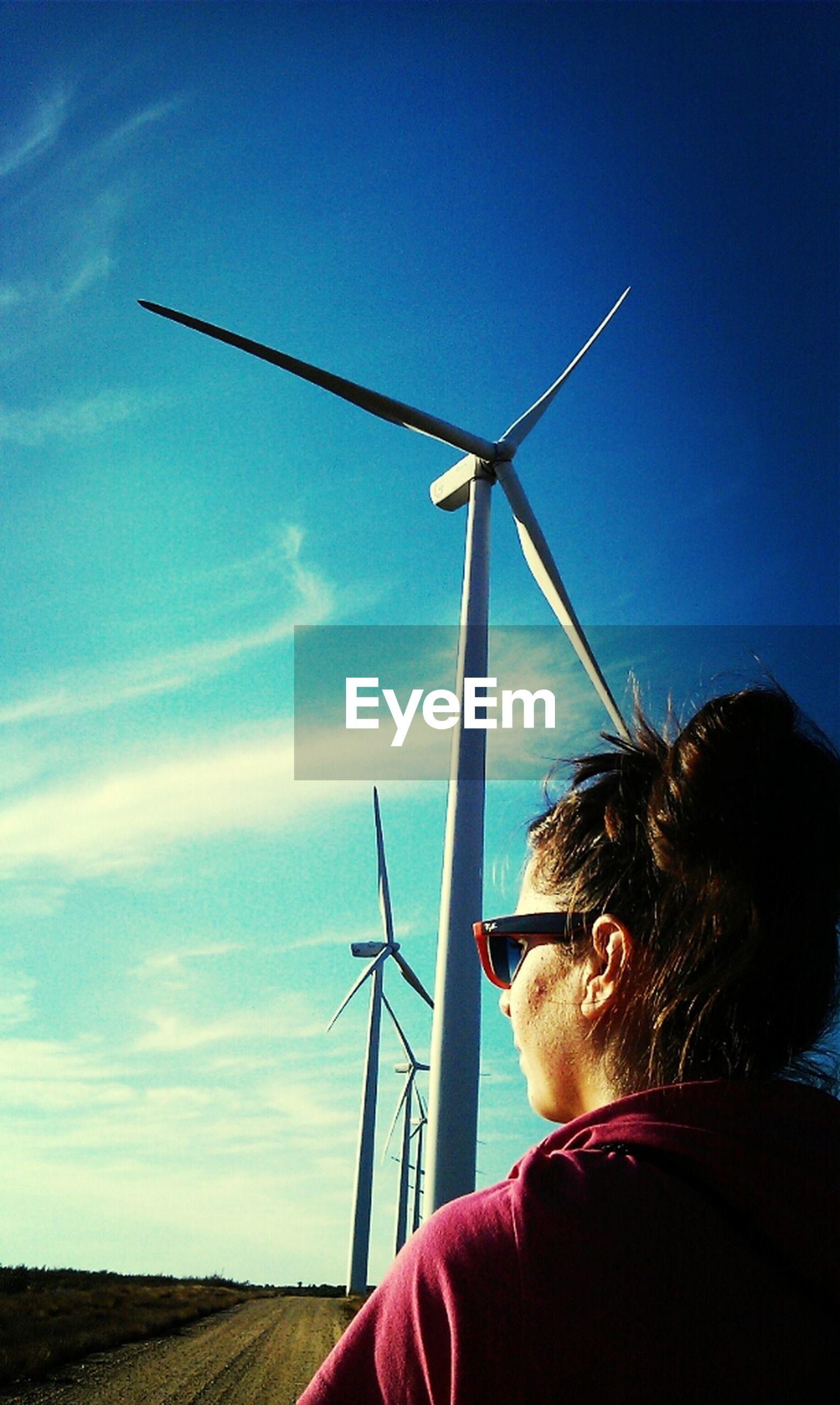 wind power, wind turbine, windmill, alternative energy, technology, environmental conservation, fuel and power generation, renewable energy, sky, field, landscape, rural scene, blue, traditional windmill, clear sky, cloud, sunlight, outdoors