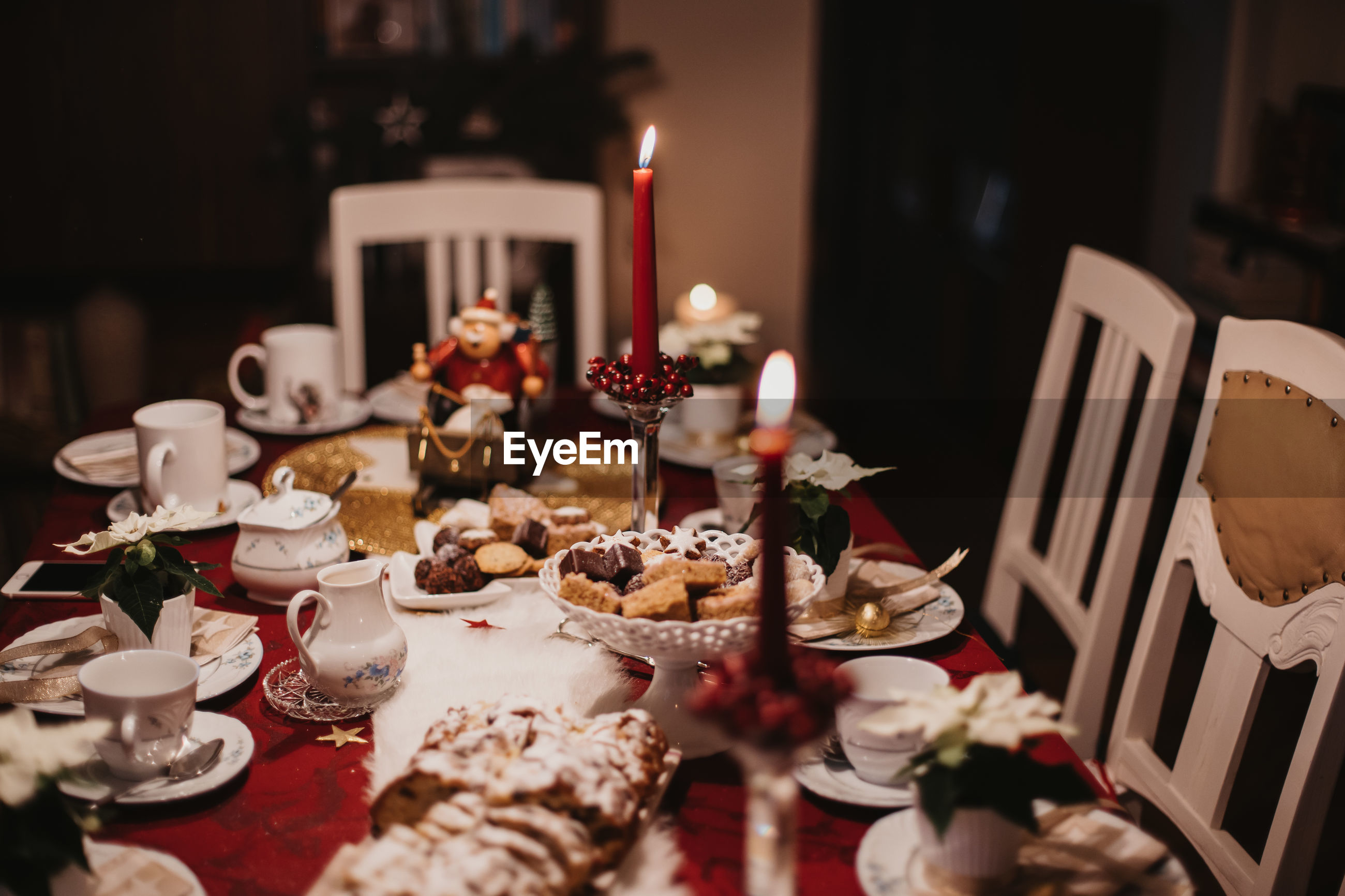 High angle view of meal served on dining table during christmas celebration