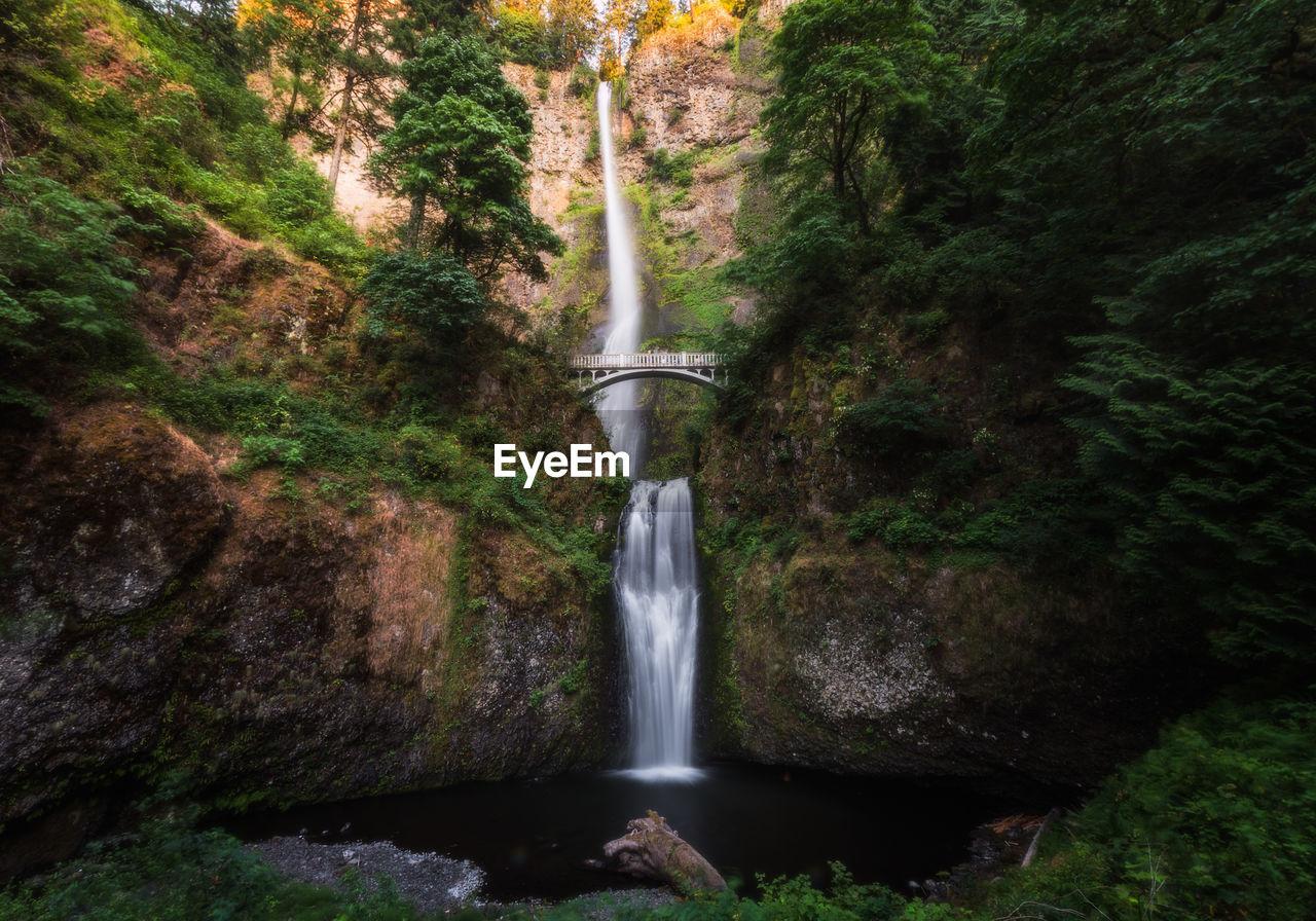 Multnomah falls amidst benson bridge