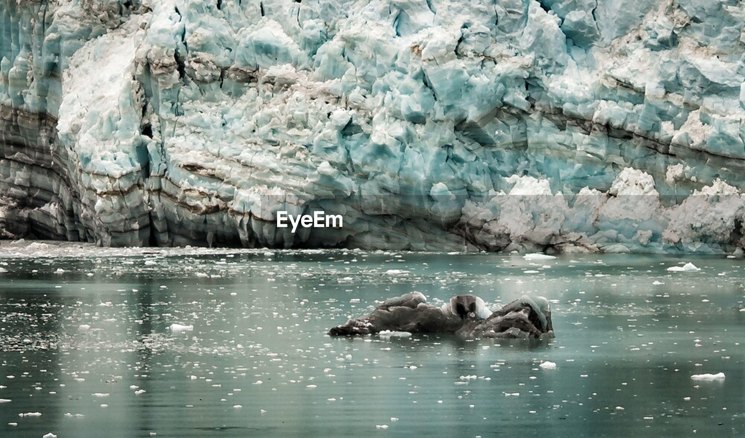 Scenic view of glacier ice cliff