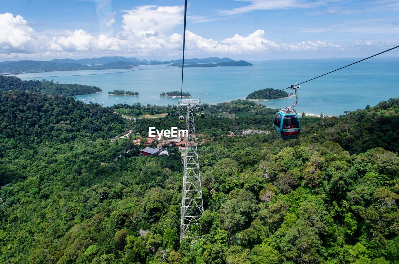 transportation, mode of transportation, cable car, plant, tree, mountain, overhead cable car, sky, cloud - sky, nature, green color, beauty in nature, day, cable, scenics - nature, travel, outdoors, no people, growth, high angle view