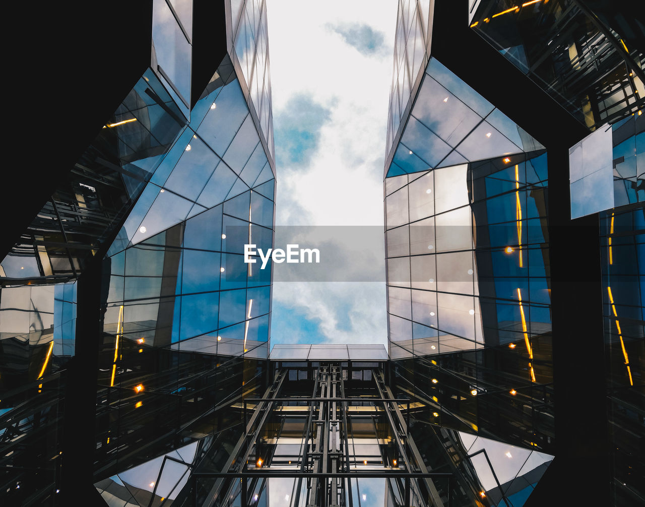 Directly Below Shot Of Modern Buildings In City
