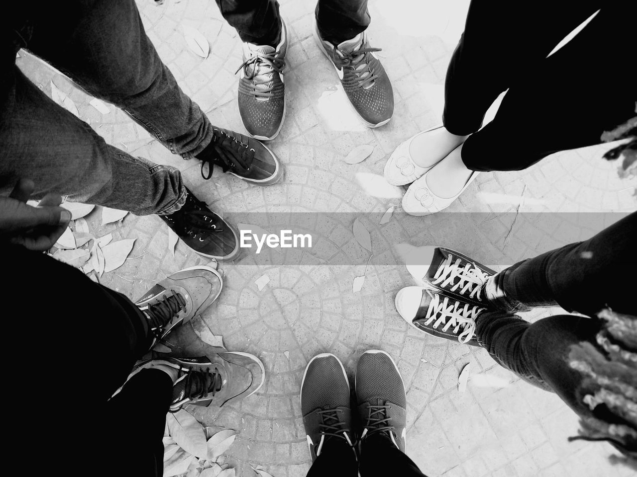 high angle view, real people, standing, low section, men, human leg, human body part, shoe, lifestyles, day, indoors, sitting, women, friendship, togetherness, adult, people, adults only