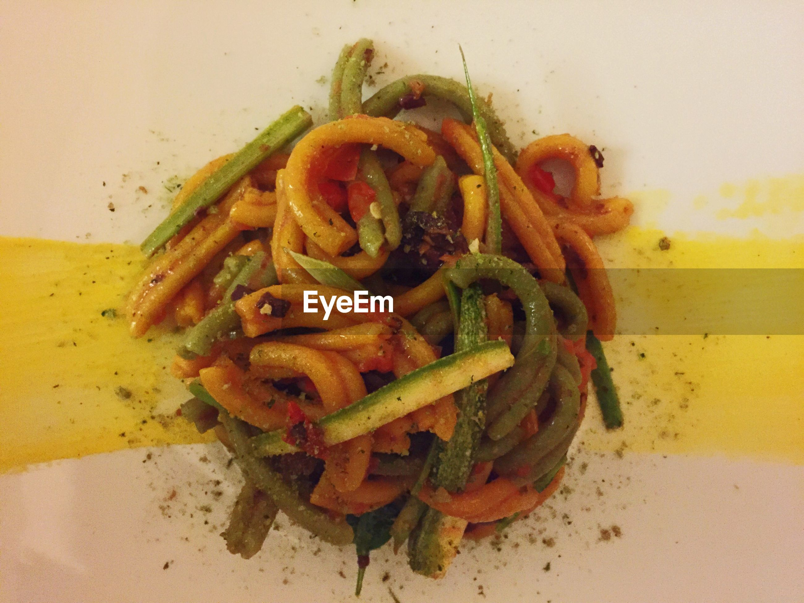 Directly above shot of strozzapreti in plate