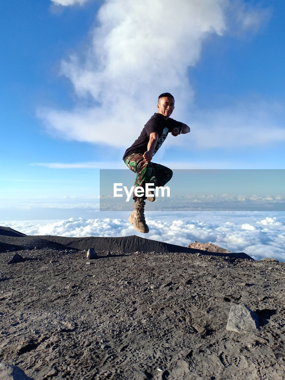 Performs silat kicks in the air