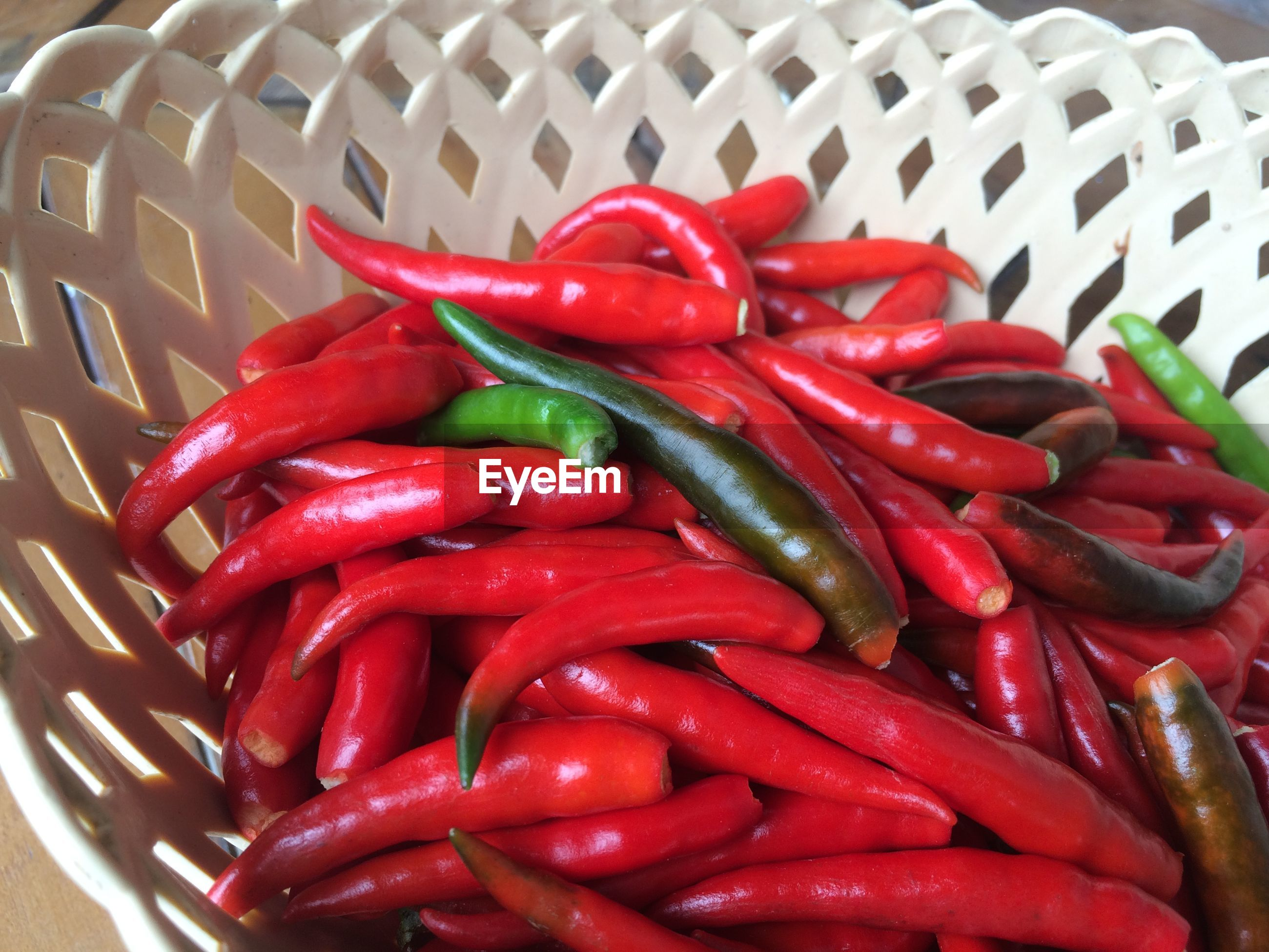 Close-up of red chili peppers in bowl