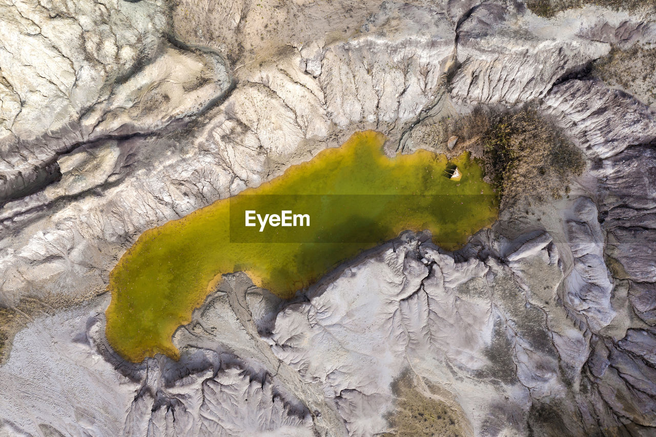 Aerial view of lake on mountain