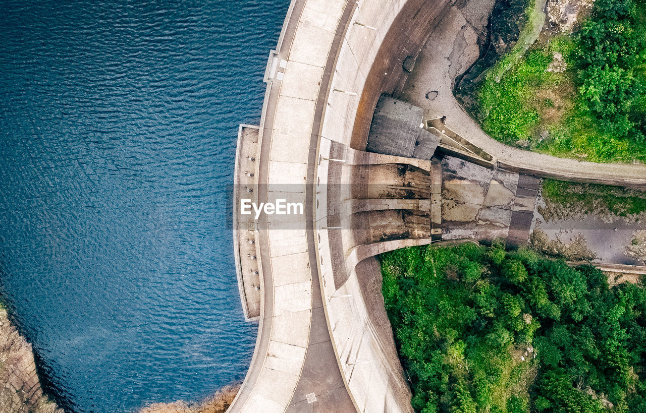 architecture, water, transportation, day, high angle view, built structure, bridge - man made structure, road, outdoors, no people, travel destinations, tree, nature