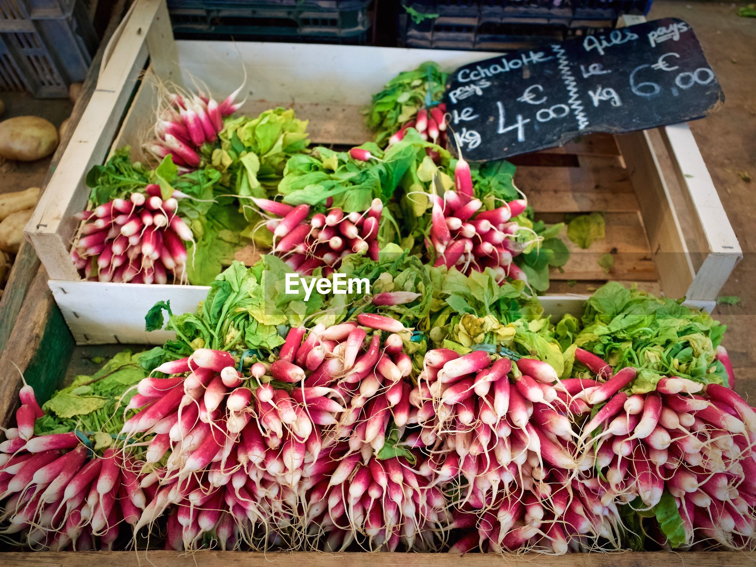 High angle view of radish vegetables for sale at market