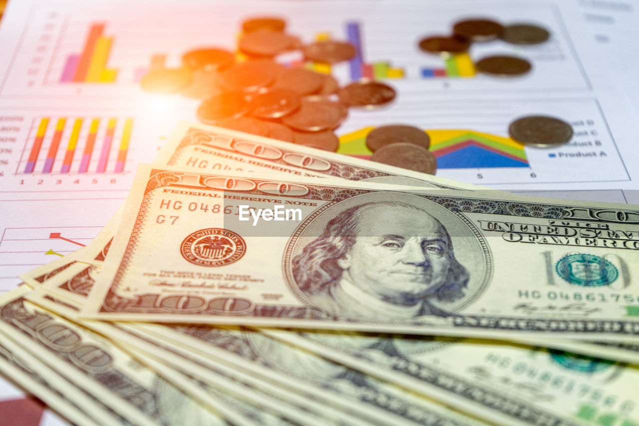 paper currency, finance, wealth, currency, business, human representation, close-up, representation, no people, male likeness, number, indoors, large group of objects, text, backgrounds, still life, multi colored, selective focus, economy