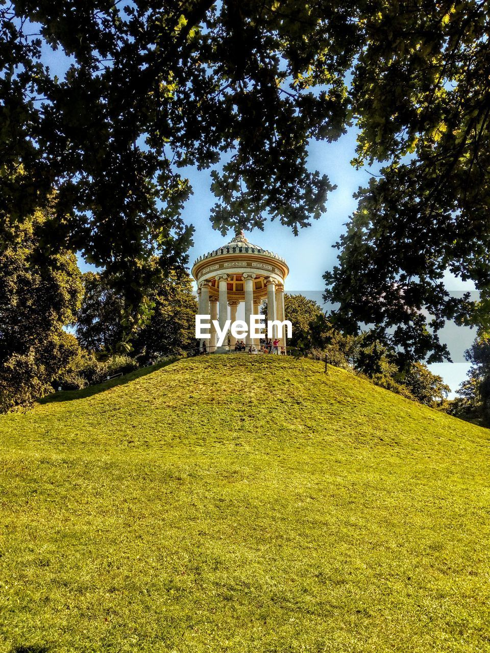 plant, tree, grass, architecture, built structure, green color, growth, nature, building exterior, land, no people, day, sky, field, outdoors, the past, history, travel destinations, sunlight, gazebo, architectural column