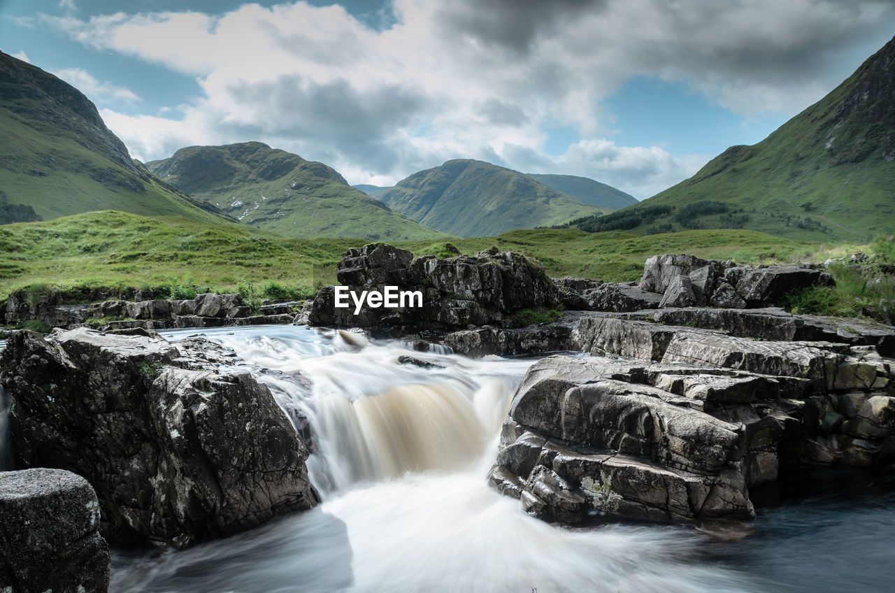 SCENIC VIEW OF WATERFALL AGAINST MOUNTAINS