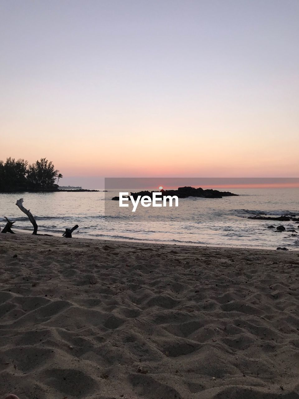 sky, sunset, water, beach, land, sea, scenics - nature, beauty in nature, copy space, sand, tranquility, tranquil scene, nature, horizon over water, clear sky, horizon, orange color, non-urban scene, idyllic, no people, outdoors
