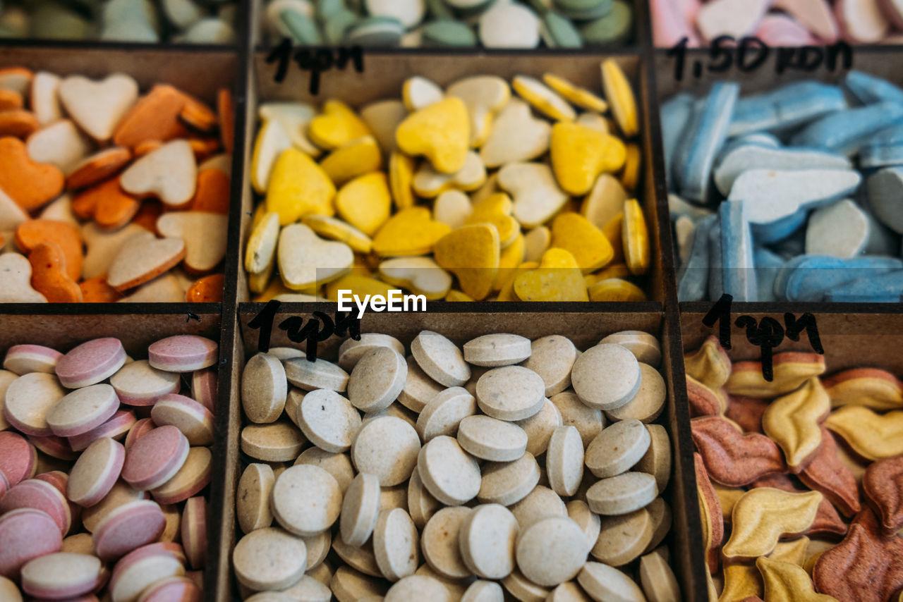 Pet shop. dog and cat vitamins supplements on animals supermarket shelf. multi-colored tablets