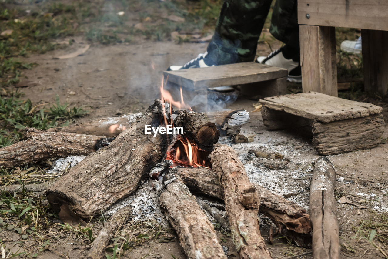 log, wood - material, wood, firewood, fire, burning, day, nature, heat - temperature, flame, fire - natural phenomenon, tree, forest, timber, focus on foreground, outdoors, no people, land, camping, bonfire, campfire