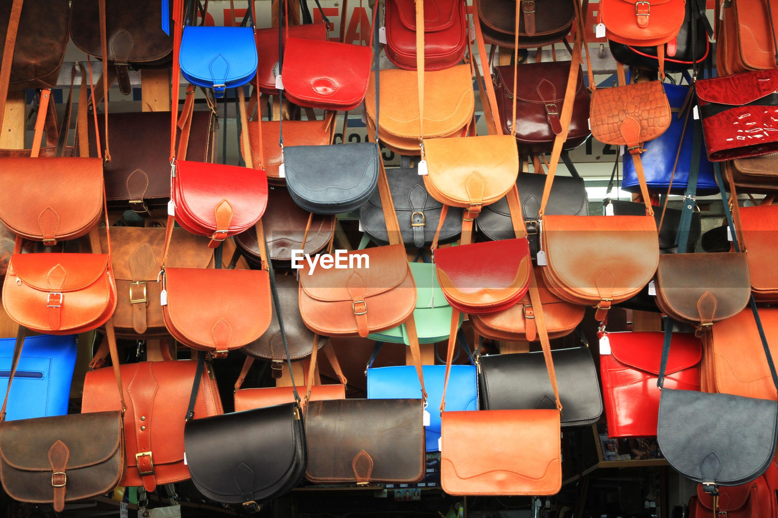 Full frame shot of purses for sale at market stall