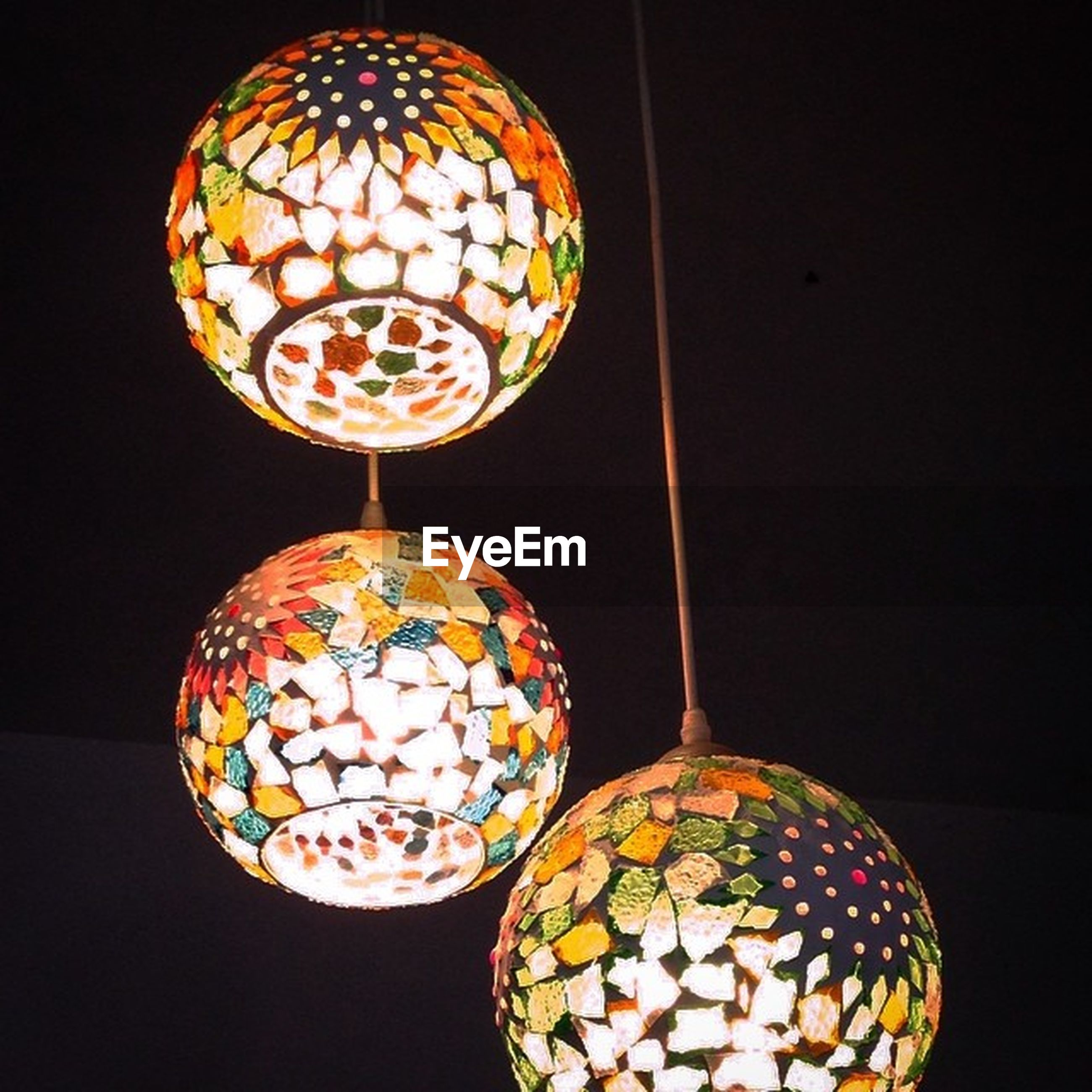 illuminated, indoors, decoration, lighting equipment, sphere, hanging, design, pattern, decor, multi colored, art and craft, close-up, low angle view, christmas decoration, still life, lantern, art, celebration, christmas, night