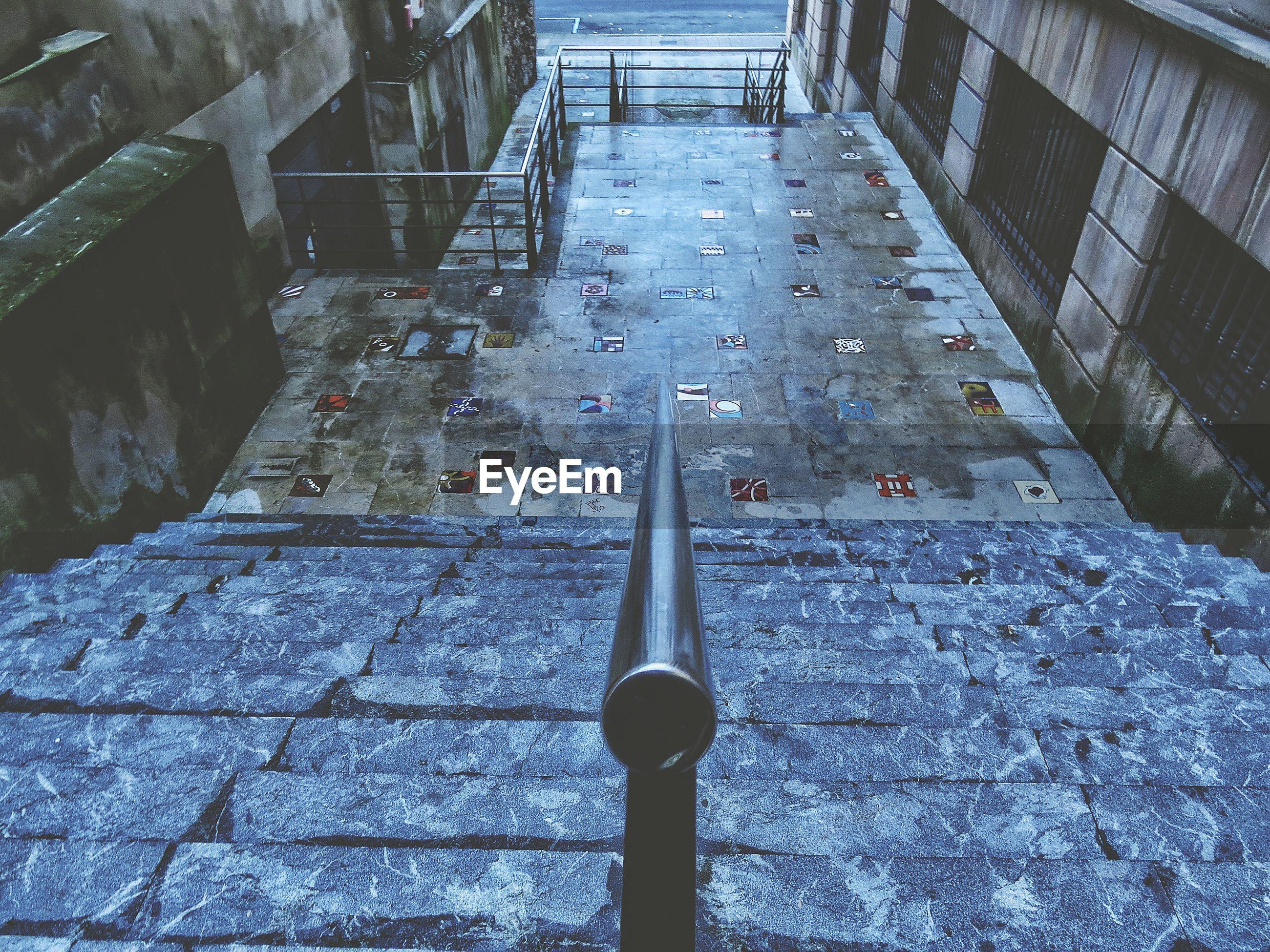 Empty steps outside buildings