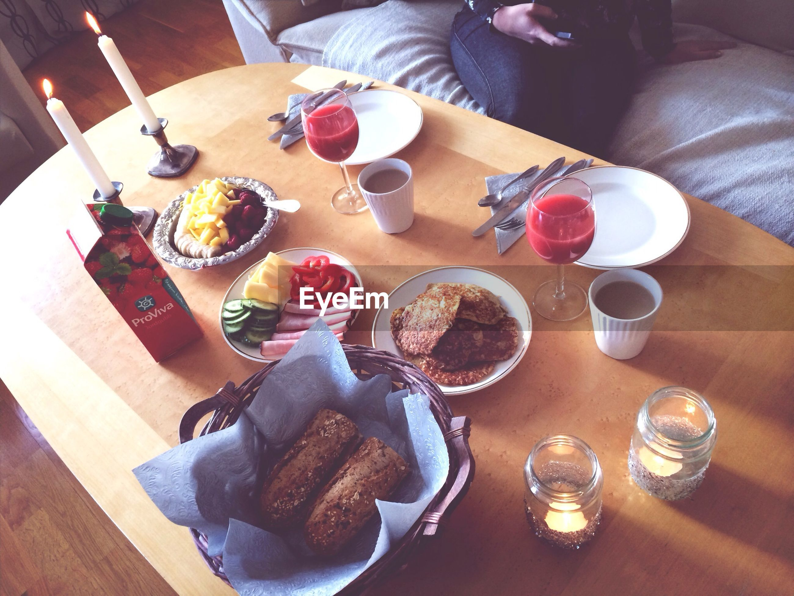 food and drink, indoors, food, freshness, table, ready-to-eat, still life, plate, drink, high angle view, sweet food, indulgence, variation, drinking glass, serving size, meal, dessert, unhealthy eating, refreshment