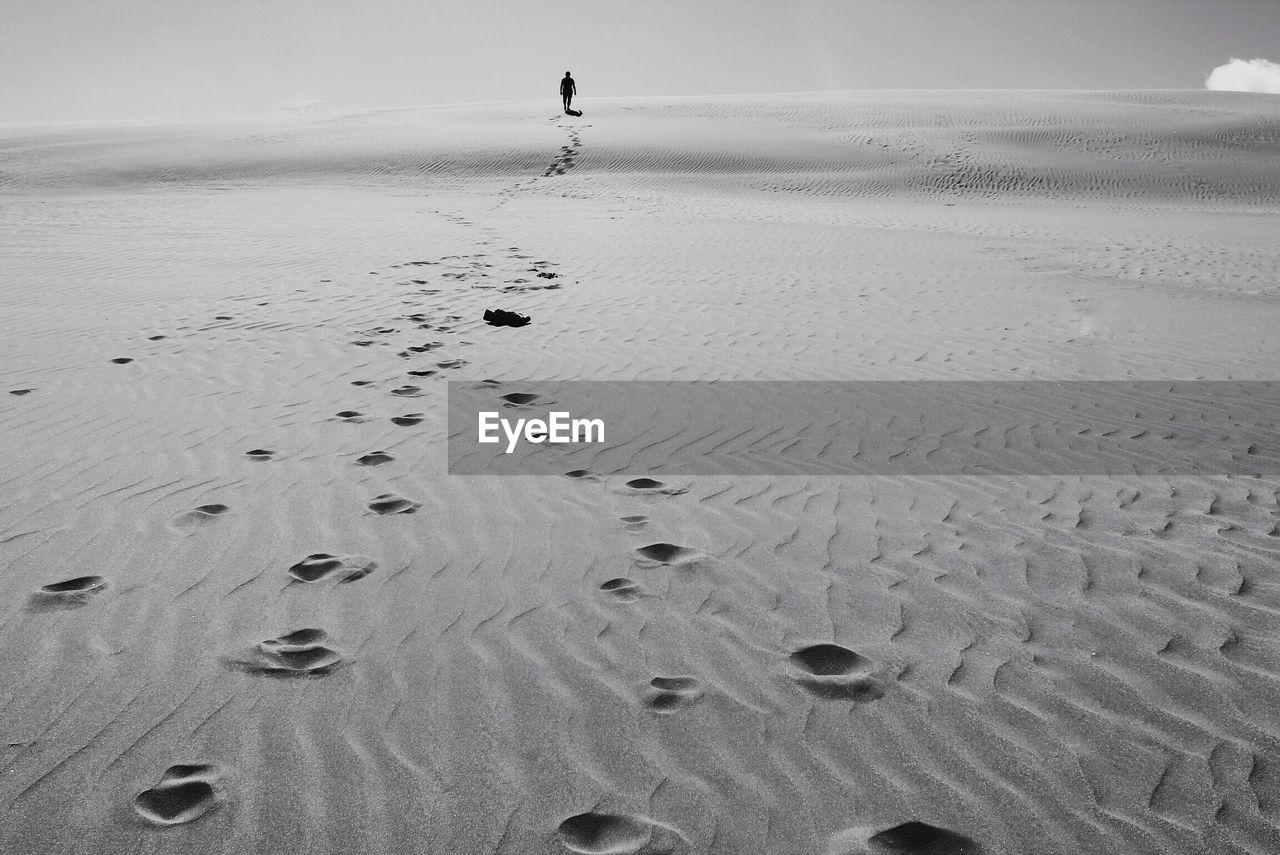 Rear view of man walking at sandy beach