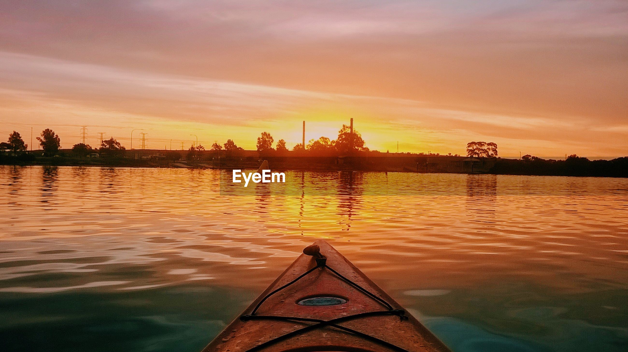 Point of view image of boat in sea against sky during sunset