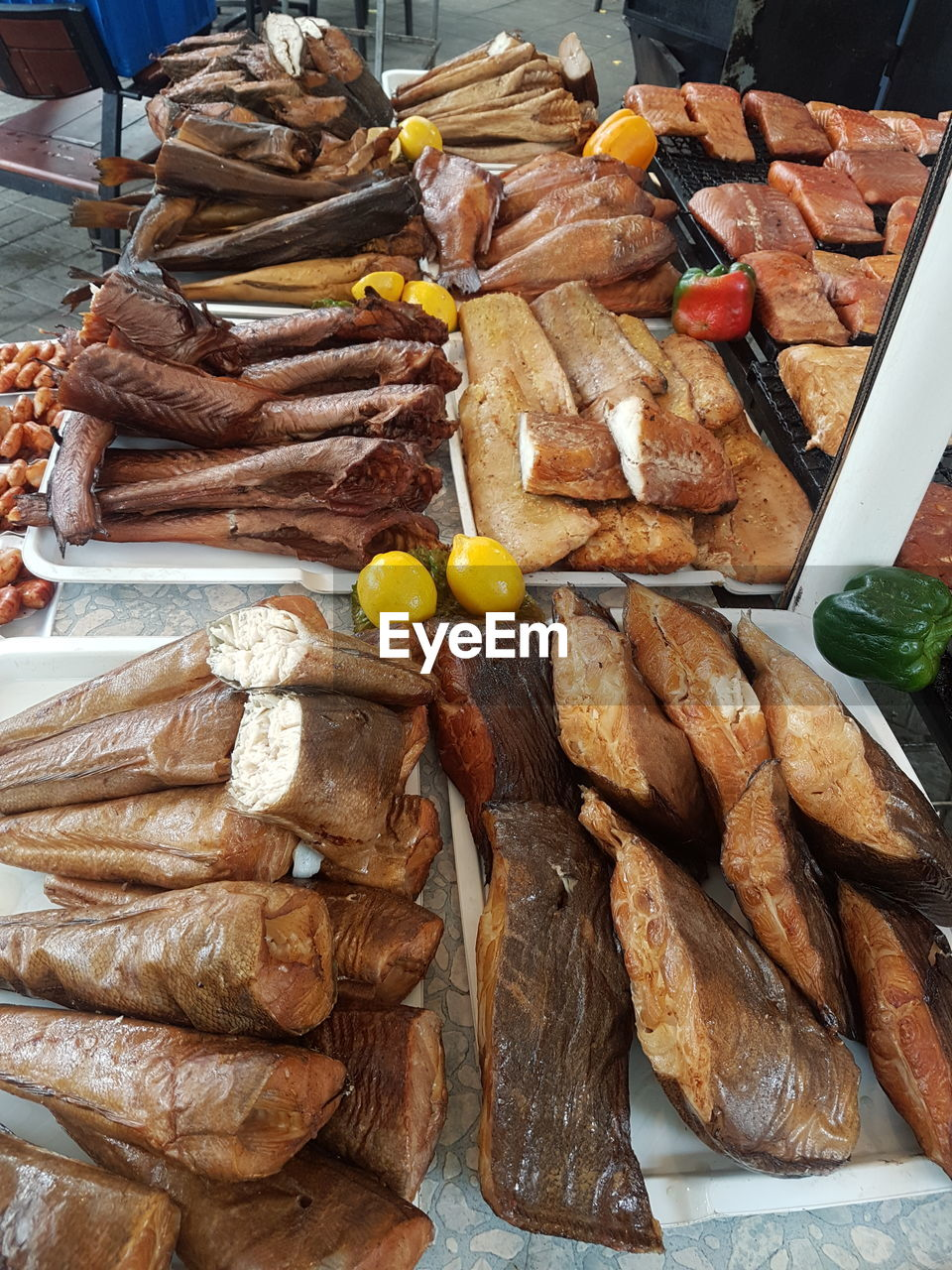 food, food and drink, freshness, meat, healthy eating, wellbeing, ready-to-eat, still life, close-up, no people, choice, for sale, retail, indoors, high angle view, bread, business, market, fish, abundance