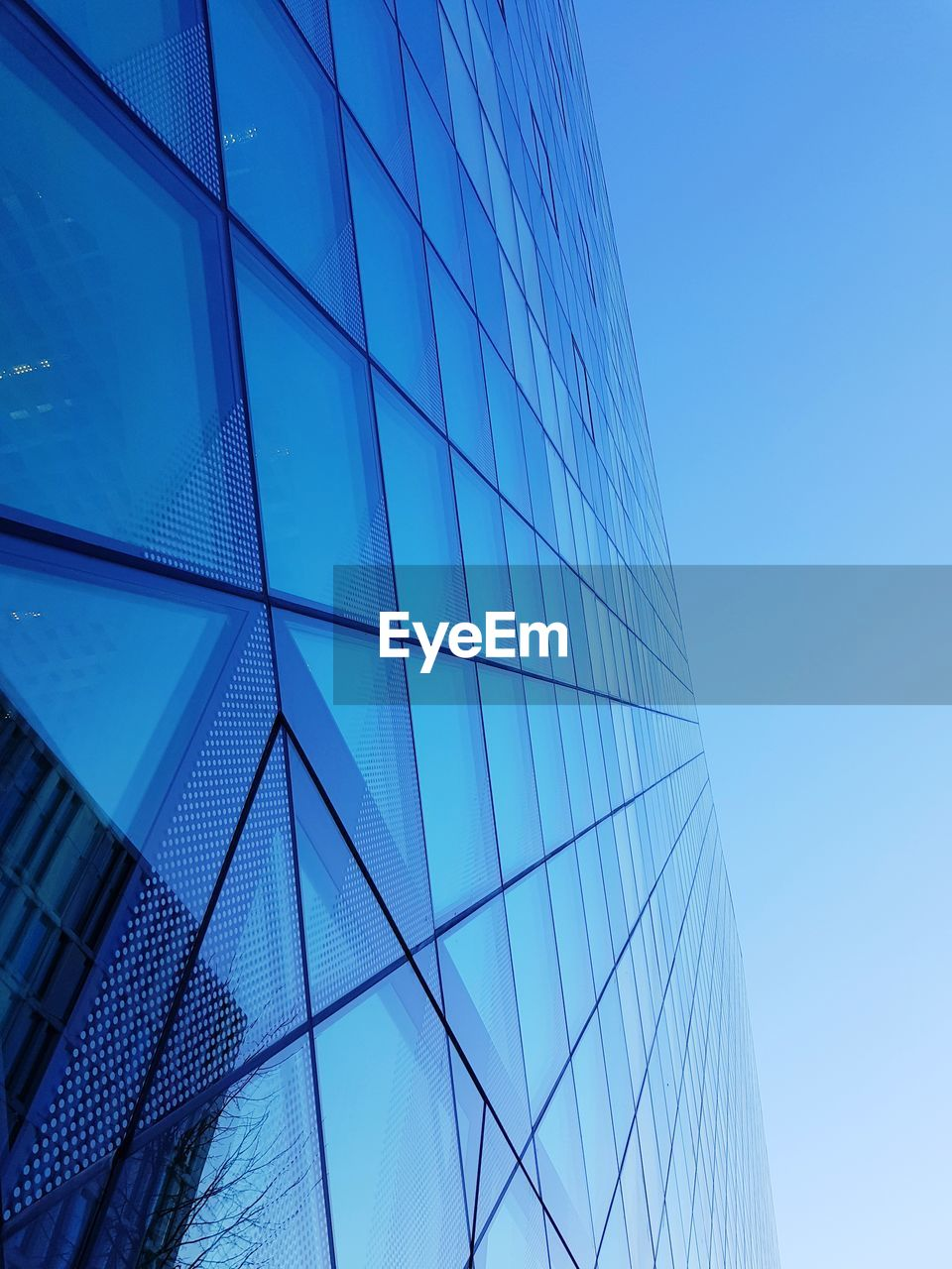 built structure, architecture, building exterior, low angle view, office building exterior, blue, glass - material, city, building, office, sky, clear sky, modern, no people, reflection, day, nature, shape, skyscraper, tall - high