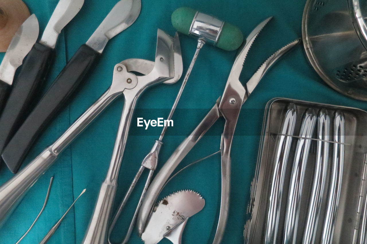 High angle view of dental equipment on table