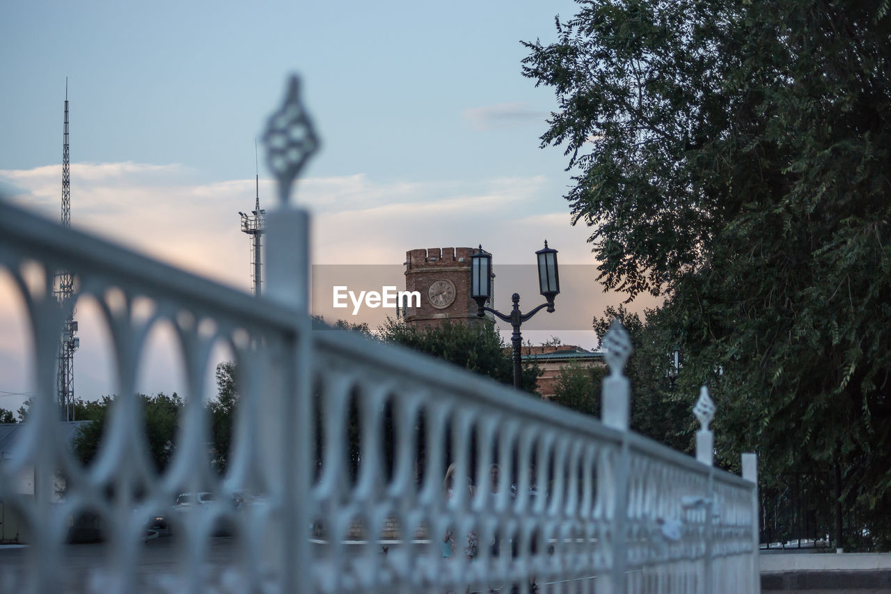 tree, plant, architecture, built structure, no people, building exterior, nature, sky, railing, day, city, outdoors, connection, bridge, barrier, focus on background, history, boundary, the past, fence