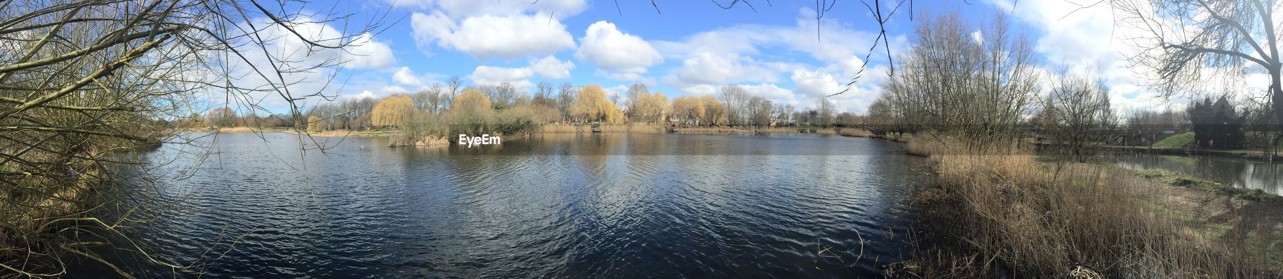 water, sky, cloud - sky, reflection, tree, tranquility, lake, tranquil scene, scenics, nature, beauty in nature, cloud, river, waterfront, blue, day, cloudy, outdoors, idyllic, panoramic